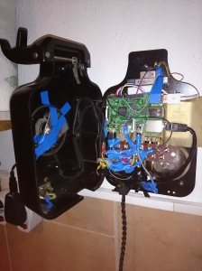 Inside picture of the old wall mounted rotary phone (W38/W48) with raspberry pi 2